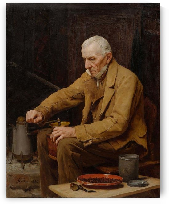An old man making coffee by Anker Albert