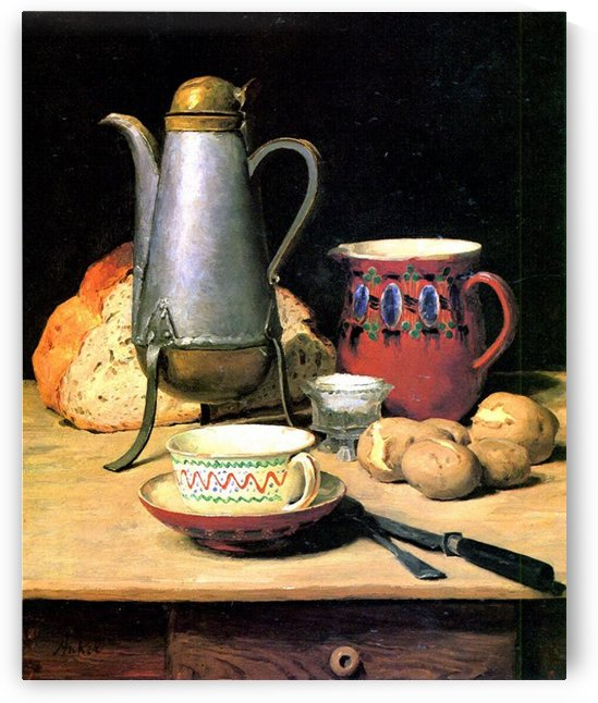 Still-life Coffee Milk and potatoes by Anker Albert
