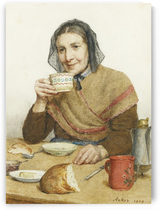 An old woman drinking coffee by Anker Albert