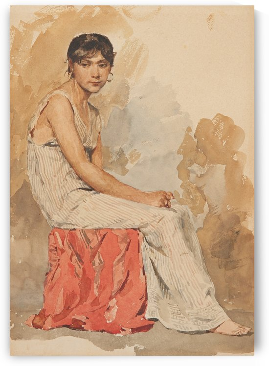 A woman in a white dress sitting by Anker Albert