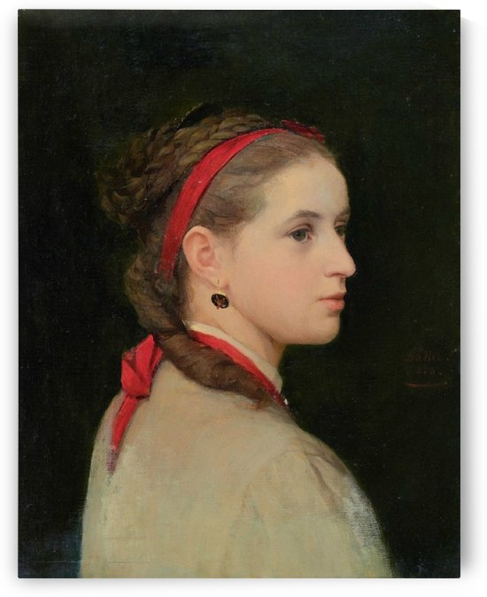 Portrait of a young girl with a scarf by Anker Albert