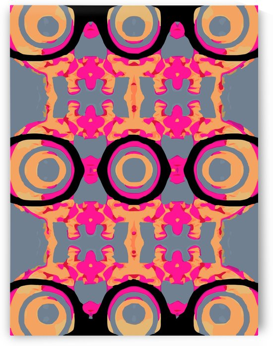 psychedelic graffiti skull head in pink and orange with grey background by TimmyLA