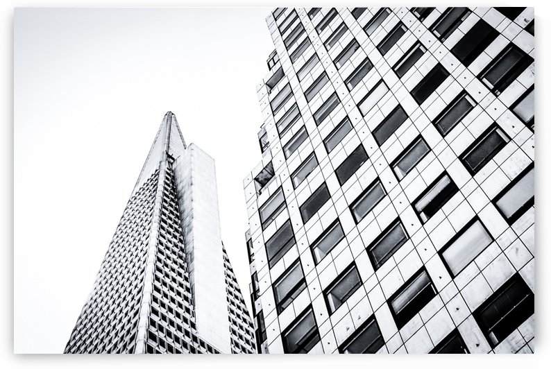 pyramid building and modern building at San Francisco, USA in black and white by TimmyLA