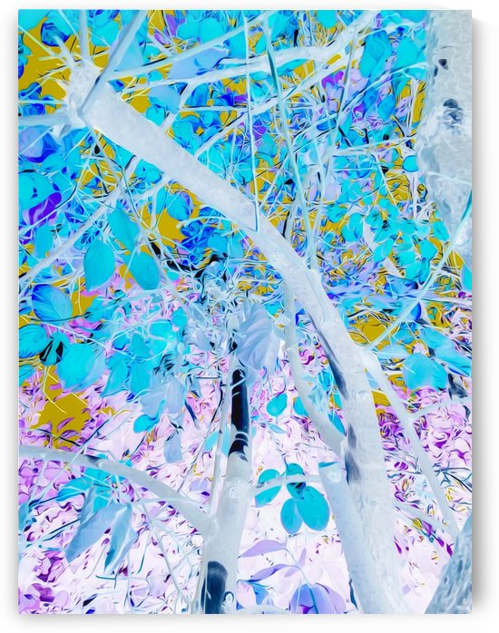 drawing tree with blue leaves and purple background by TimmyLA
