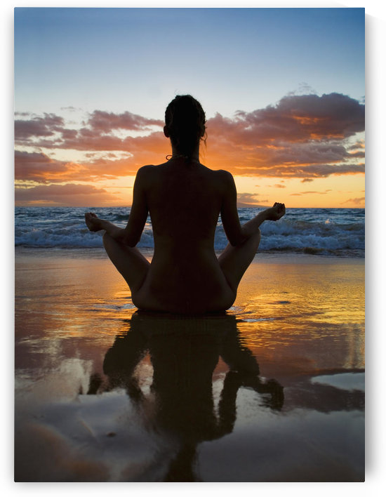 Hawaii, Maui, Silhouette Of Beautiful Girl Doing Yoga On The Beach. by PacificStock
