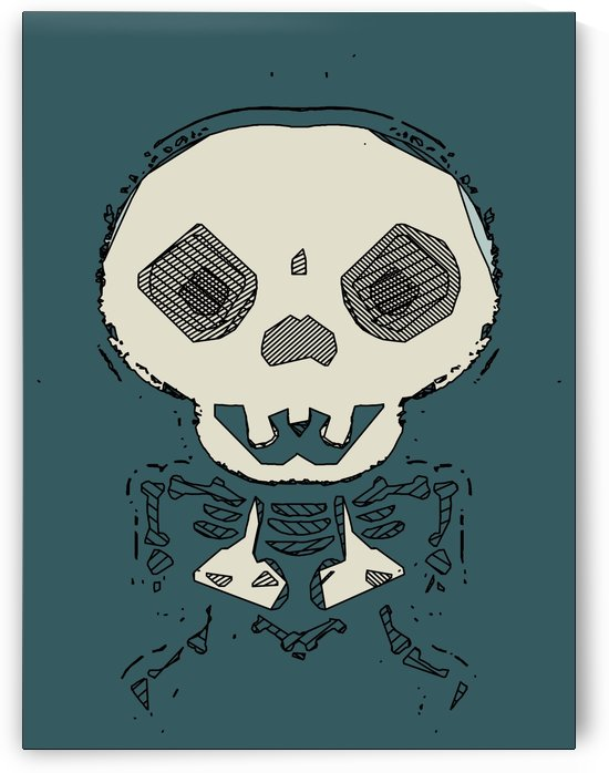 skull and bone graffiti drawing with green background by TimmyLA