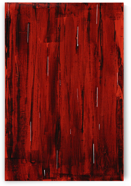 Rain, Abstract Painting In Red And Black (Acrylic Painting). by PacificStock