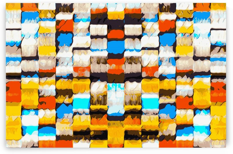 square pattern graffiti abstract in yellow brown red blue orange by TimmyLA