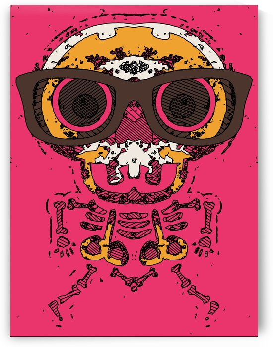 funny skull and bone graffiti drawing in orange brown and pink by TimmyLA