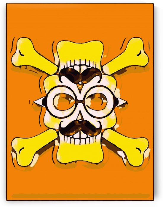 yellow old vintage skull and bone graffiti drawing with orange background by TimmyLA