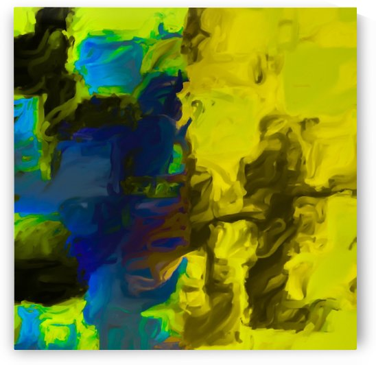 psychedelic splash painting abstract in yellow blue and black by TimmyLA