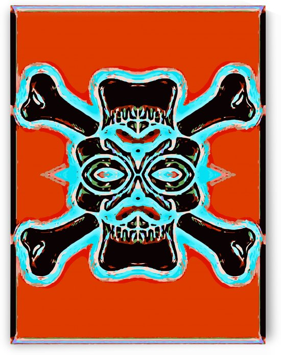 black vintage skull and bone graffiti drawing with blue and red background by TimmyLA