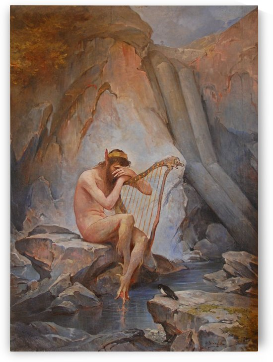 A lonely harp singer by Nils Nilsen Bergslien