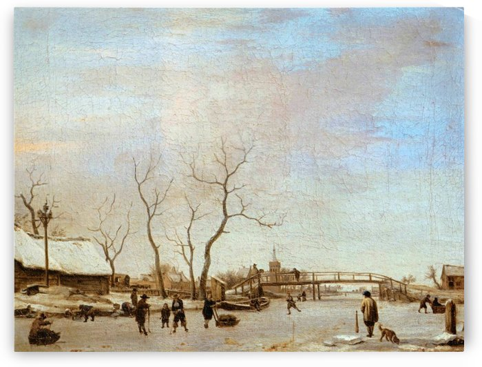 Frozen canal with skaters and hockey players, 1668 by Adriaen van de Velde