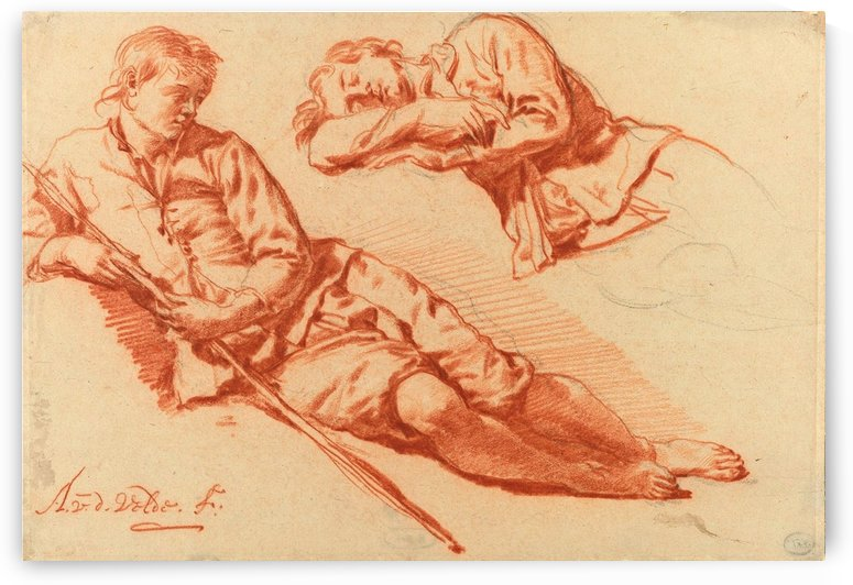 Two studies of a reclining shepherd, 1666-1671 by Adriaen van de Velde