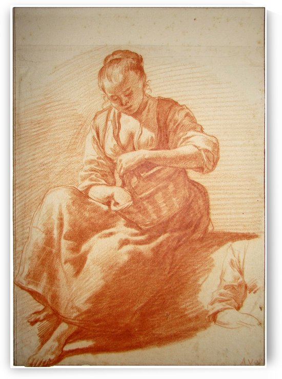 Seated woman with basket by Adriaen van de Velde