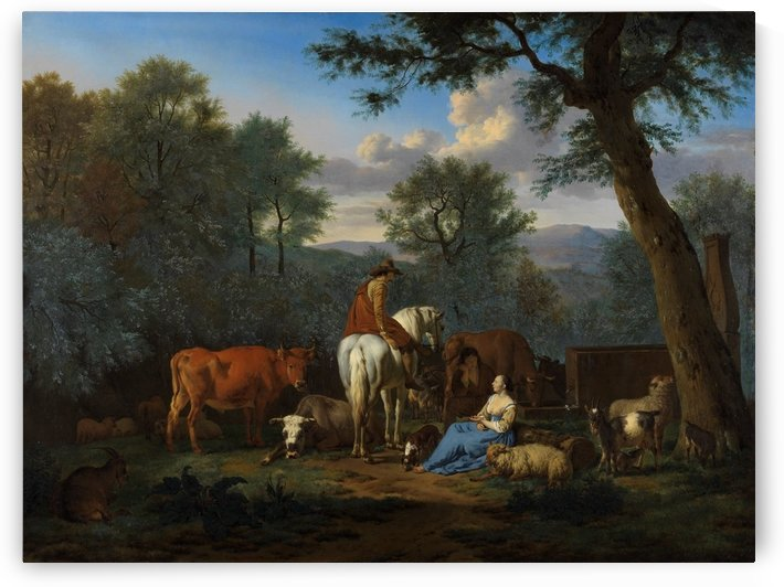 Landscape with cattle and figures 1664 by Adriaen van de Velde