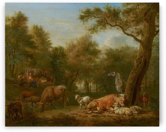 Landscape cattle by Adriaen van de Velde