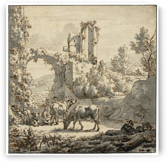 Herdsman and herdswoman with livestock by Adriaen van de Velde