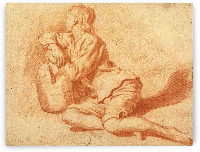Study of a seated boy leaning on a flagon by Adriaen van de Velde