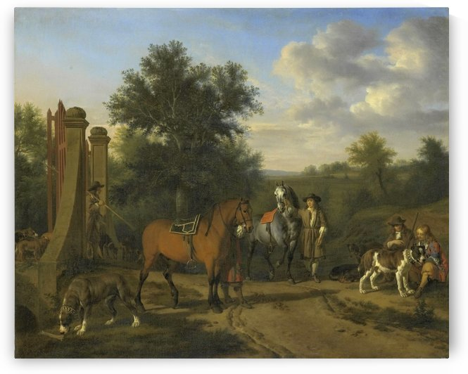 The hunting party by Adriaen van de Velde