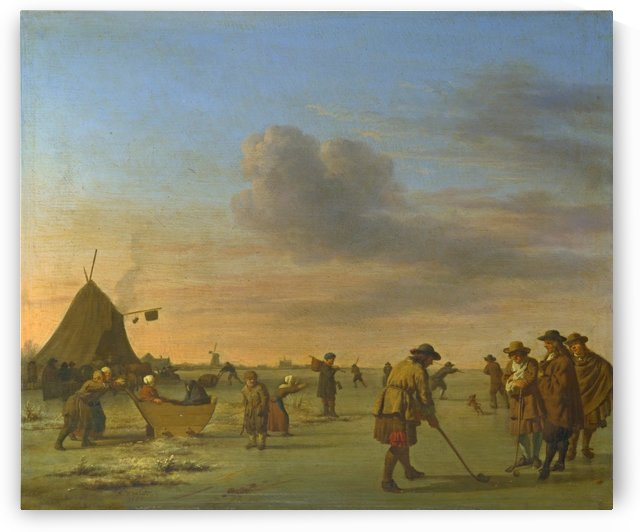 Golfers on the Ice near Haarlem by Adriaen van de Velde