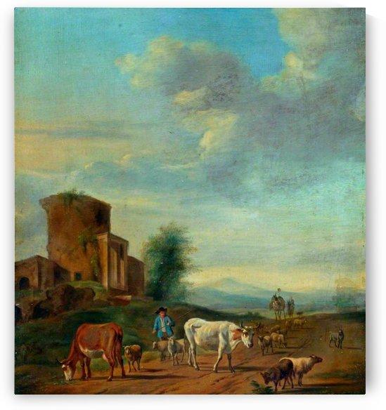 Landschap met ruines en figuren by Adriaen van de Velde