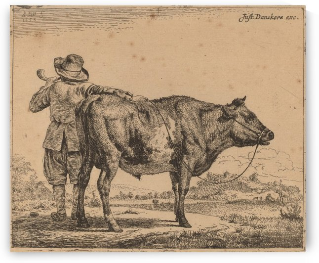 A young herdsman with a bull 1659 by Adriaen van de Velde