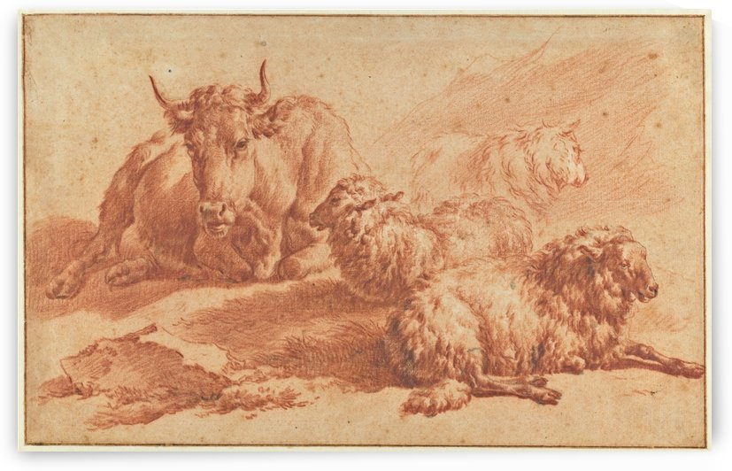 A lying cow and three sheep by Adriaen van de Velde