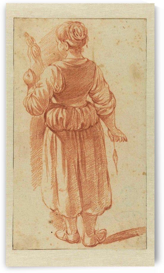 A woman chasing a silouette by Adriaen van de Velde