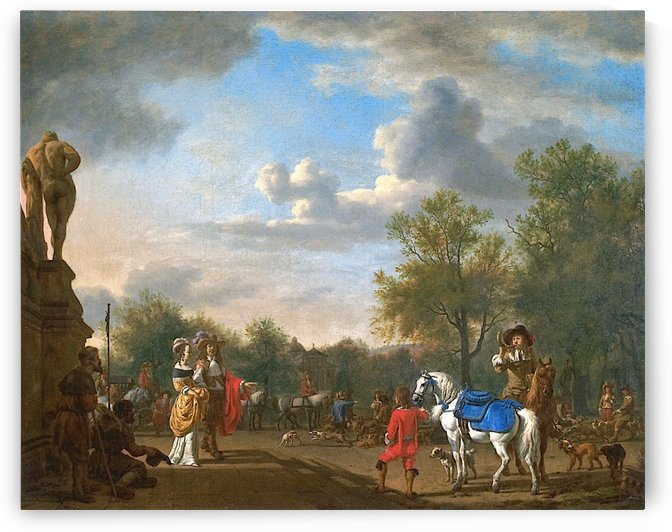 Departure by the hunt by Adriaen van de Velde