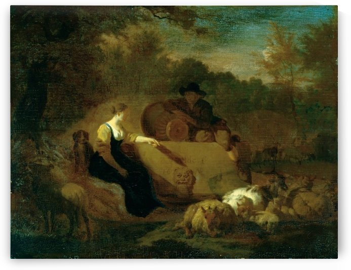 Hirt und Hirtin mit ihrer Herde am Brunnen by Adriaen van de Velde