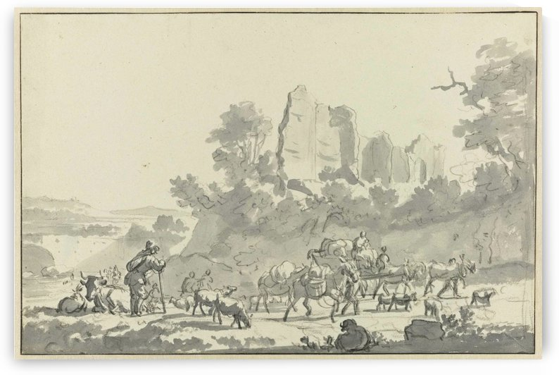 Schetch of the village life by Adriaen van de Velde