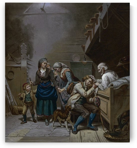 An old father blessing his family by Adolph Tidemand