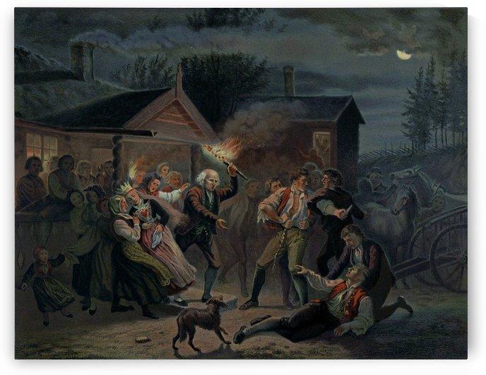 Slagsmaal i et Bondebryllup by Adolph Tidemand