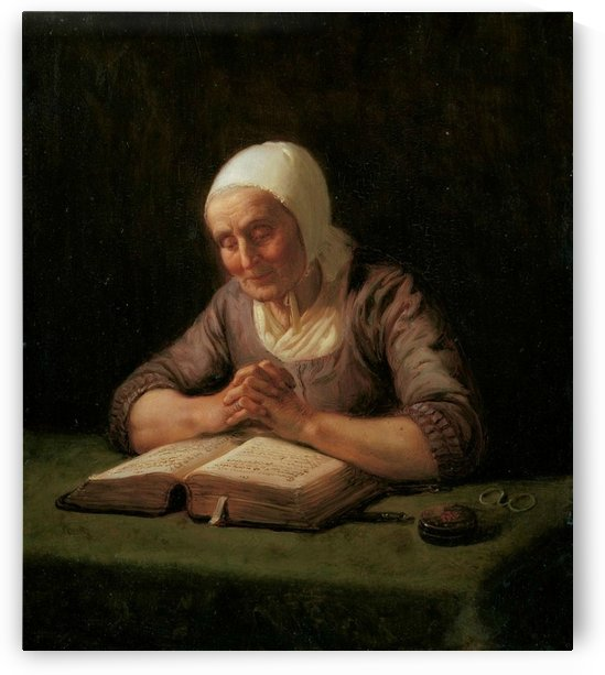 An old lady reading by Adolph Tidemand