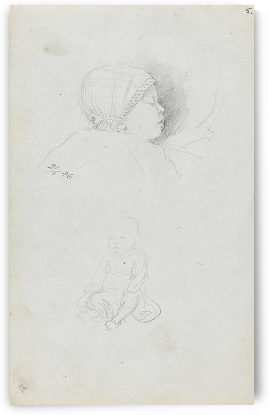 A sleeping baby by Adolph Tidemand