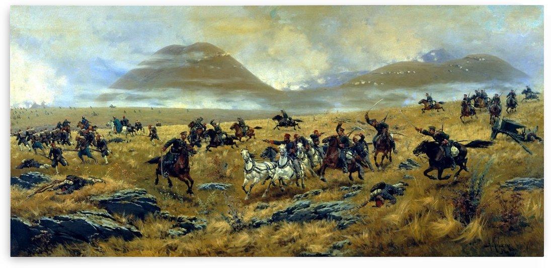 Nizhny Novgorod Dragoons Pursuing the Turks on the road to Kars during the battle Aladzhinskogo October 3, 1877 by Alexei Danilovich Kivshenko