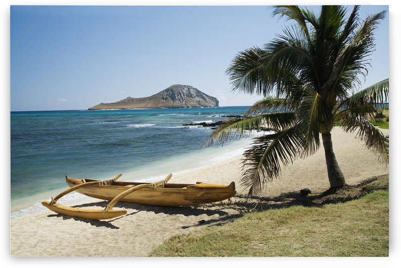USA, Hawaii, Oahu, East Shore Rabbit Island and Koa Canoe; Waikiki by PacificStock