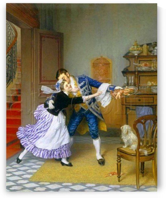 Stealing a kiss from the servant by Pierre Outin