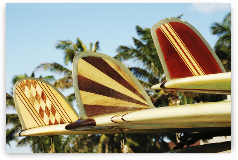 Hawaii, Oahu, Colorful Hawaiian Design Surfboards Fins. by PacificStock