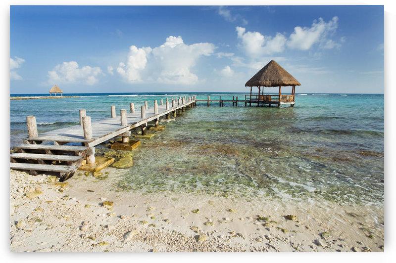 Mexico, Yucatan Peninsula, Tulum, Pier Over Turquoise Ocean. by PacificStock