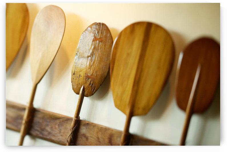 Hawaii, Oahu, Old Hawaiian Canoe Paddles by PacificStock