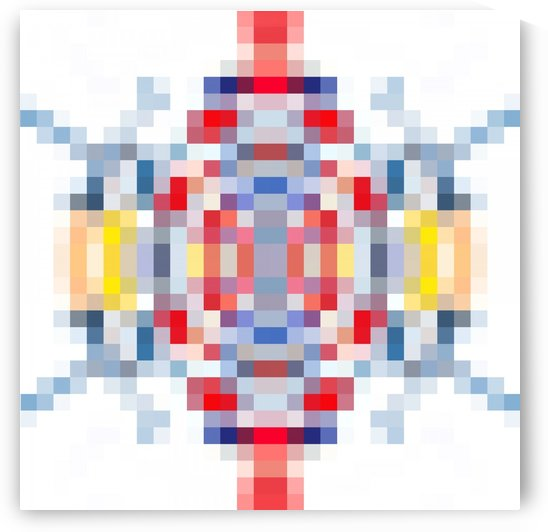 geometric square pattern pixel abstract in blue red yellow by TimmyLA