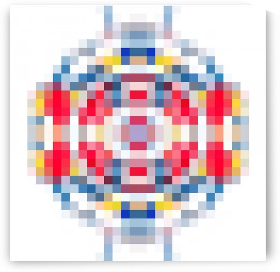 geometric square pattern pixel abstract in red blue yellow by TimmyLA