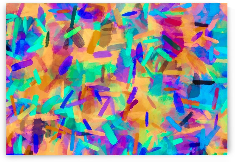 psychedelic splash painting abstract in orange purple green pink blue by TimmyLA