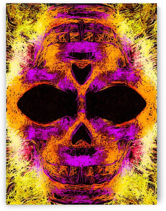 psychedelic angry skull portrait in pink orange yellow by TimmyLA
