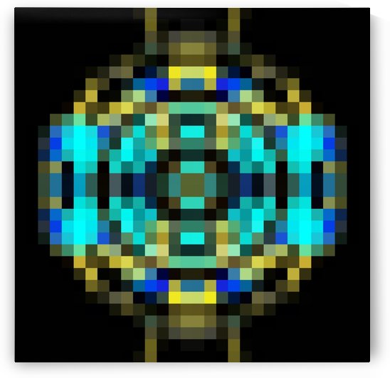 geometric square pixel abstract in blue and yellow with black background by TimmyLA