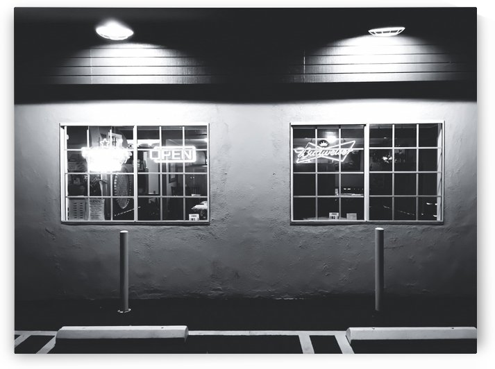 windows of the bar and restaurant in Los Angeles, USA in black and white by TimmyLA