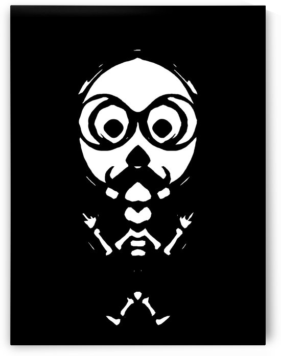 old skinny skull and bone with glasses in black and white by TimmyLA